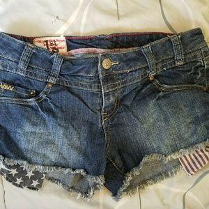 1st kiss jean shorts- American flag pockets